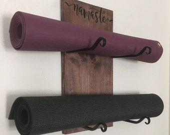 Yoga Mat Holder - Yoga Gift - Yoga Accessory - Yoga Decor - Om - Namaste -  Double Mat Holder - Workout Organizer - Workout Room - Yoga Room