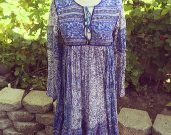 Vintage indian cotton gauze hippy dress size small