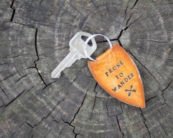 "Key Chain, Leather Keychain, Leather Arrowhead Key Ring, Leather Quote ""Prone To Wander"" Key Fob, Handmade Leather Keychain"