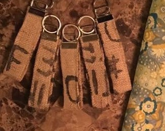 Coffee sack key fobs