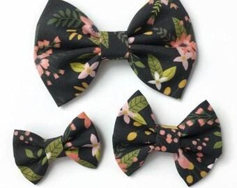 Black Floral Hair Bow - Fabric Hair Bow - Fall Hair Bow - Floral Fabric Bow - Black Fabric Bow - Fall Floral Hair Bow - Floral Headband