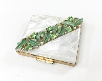 50s Pearl and Green Rhinestone Compact | Green Enamel Leaves Rhinestones | SF & Co, Fifth Avenue