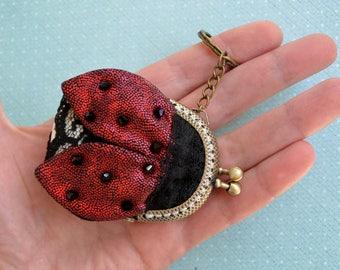 Ladybug Coin Purse, Wee purse, Small Purse Ladybug, Metal frame purse, Keychain Ladybug, Bag charm Ladybug, Elegant accessory, Ready to ship