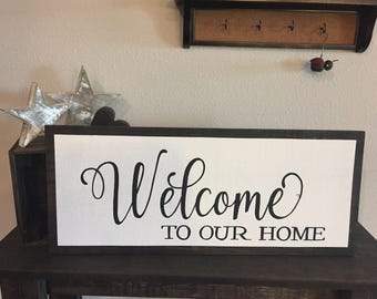 """Wooden Framed Style Sign Welcome yo Our Home Sign - 11""""x27"""" - Home Decor Rustic Shabby Chic Wood Art Hand Painted (Item Number PWS0130025)"""