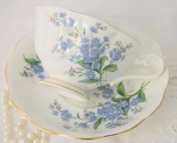 Vintage Royal Albert Bone China 'Forget Me Not' Teacup and Saucer, England