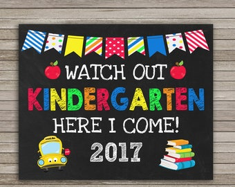 Watch Out Kindergarten Here I come Chalkboard, First Day of Kindergarten Chalkboard, School Sign, Back to School, Instant Download