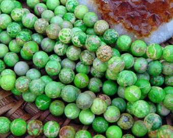 "8mm Smooth Lime Green Sea Sediment Jasper Beads, 15"" strand, Round Imperial Emperor Jasper, Aqua Terra Jasper, Gemstone Beads, #R8S-078"