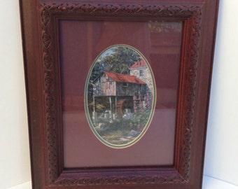 Vintage Framed Keirstead Print of an Old Grist Mill in an Ornate Burgundy Frame   1970's