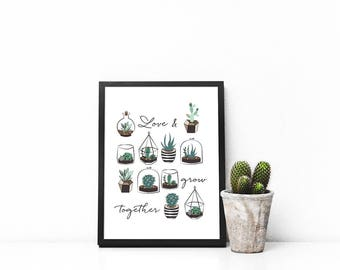 "Succulent ""Love & Grow Together"" Wall Decor Print"