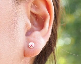 Ohm Stud Earrings, Om Earrings, 925 Sterling Silver, simple, Yoga jewelry, Spiritual gift, Namaste - SA110