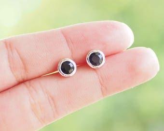 6 mm Black Cubic Zirconia Stud Earrings, 925 Sterling Silver, CZ earrings, Diamond stud, Birthstone Earrings, Men's stud - JC010