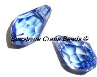 Swarovski Crystal Elements Beads 2Pcs 6007 9x5mm Small Briolette Faceted Pendant