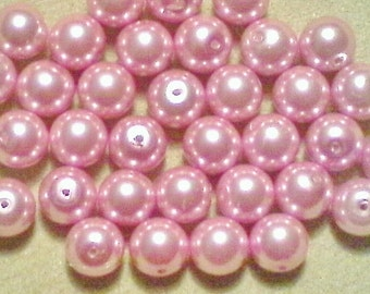 Pink glass pearls;  lovely, baby pink, glass pearl beads, 8mm, 10pcs/1.60.