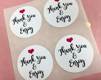 Thank you & enjoy, thank you stickers, custom labels, custom stickers, favor labels,custom labels,custom stickers, thank you labels,labelin