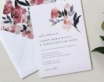 Mauve Wedding Invitations   Watercolor Floral Wedding Invitations, Mauve and Purple Wedding Invites, Floral Envelope Liner, Modern Wedding