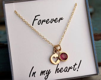 Forever in my heart / Remembrance Necklace / Memorial Necklace / Loss of Mother - Father (Gold)