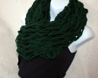 Deep Green Infinity Scarf, Chunky Winter Neck Warmer, Womens Long Circle Scarf Cowl