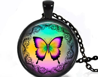 Colored Butterfly - Handmade Pendant Necklace