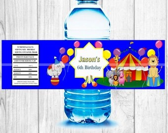 Circus Birthday party  water bottle labels,  Editable Circus Water Bottle Labels 2x8 inches children birthday party!