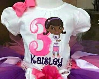 Doc McStuffins birthday shirt. Pick your fill and thread colors!
