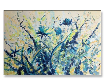 """FREE SHIPPING_Blue Wildflower Dance 36x24"""" Original Painting on Unstretched Canvas"""