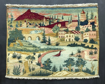 """Persian Kashan Pictorial Rug 3'4""""x2'6"""" Vintage View of Mt. Davamand"""