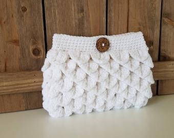 Crochet Clutch Purse / Crochet Purse / Crochet Gift / Crochet Handbag - White