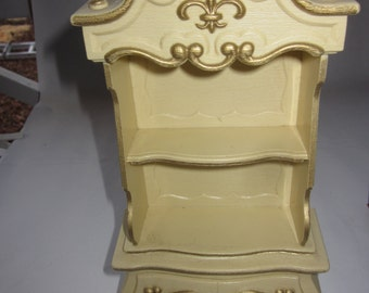 Barbie Dollhouse French Provincial Armoire, doll furniture, gold fleur de lis decoration
