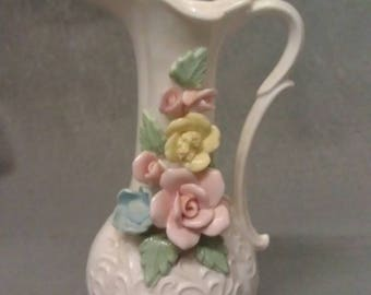 Beige with Pink and Yellow Roses and Blue Flower Vase