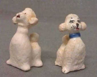 Beige White Poodle Dogs Miniature Dog Figurines