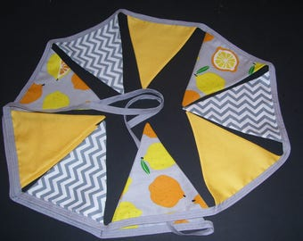 LEMON BUNTING BANNER - lemon bunting - lemon guirland - lemon decor - lemon decorations - yellow & grey bunting - lemon bunting