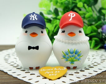 Baseball Wedding Cake Toppers-Custom Love Bird Wedding Cake Toppers-Sports Wedding Cake Toppers