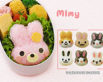 1 set Lovely DIY 3D Rabbit sushi mold and Nori Punch ,rice ball maker , sushi tool ,rice mold ,Panda Onigiri,Lunch Bento,sandwich mold