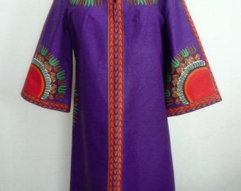 Purple A-Line Dashiki Dress, Short Angelina Dress, Ladies' Ankara Dress, Short Black Dress, Mandarin Collar Dress – One of a kind