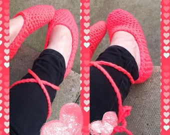 Ballerina slippers 3/4/5 crochet neon coral in colour.