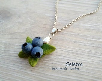 Blueberry necklace Woodland jewelry Rustic Berries necklace Forest Wedding jewellery Blue necklace Berry Christmas nature necklace Xmas gift