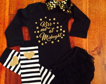 Girls Outfit - Baby Outfit - New Years Eve Outfit - NYE Outfit - Kiss Me At Midnight Outfit - Cheers 2017 Outfit - Girls NewYears Eve Outfit