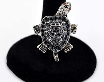 Rhodium Plated Crystal Moving Head, Legs and Tail Turtle Statement Ring