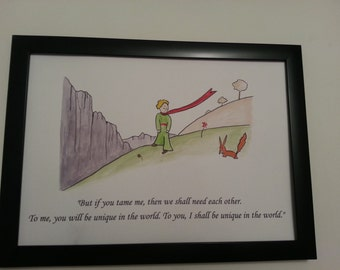 A4 The Little Prince & Fox Quote and Watercolour Painting Hand Painted Antoine de Saint-Exupéry Children/Adult Book