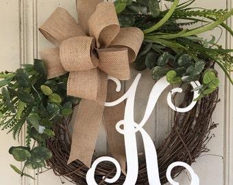Everyday Wreath, Spring Wreath, Summer Wreath, Monogram Everyday Wreath, Monogram Spring Wreath, Monogram Summer Wreath, Mother's Day Gift