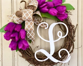 Spring Wreath with Monogram, Monogram Wreath for Spring, Tulip Wreath for Spring, Tulip Wreath with Monogram, Mother's Day Gift