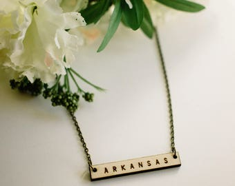 Arkansas Wood Bar Necklace