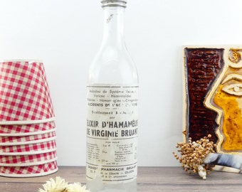 Medicine bottle - Apothecary bottle - Old pharmacy bottle - Elixir bottle - Pharmacy - Medical bottle - Apothecary Jars - French Medical