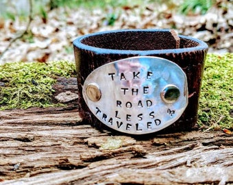 Take the Road Less Traveled - Reclaimed Leather Cuff
