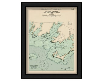 "Coscob Harbor & Greenwich Cove, Connecticut 27"" X 36"" - Nautical Chart by George W. Eldridge 1901 Color"