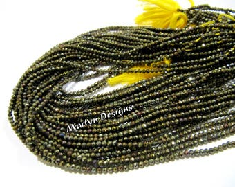 """Best Quality Natural Black Spinel Rondelle Faceted Beads, Mystic Golden Coated 2mm Size Black Spinel Beads, Length 13"""" inch, AB Coated Beads"""