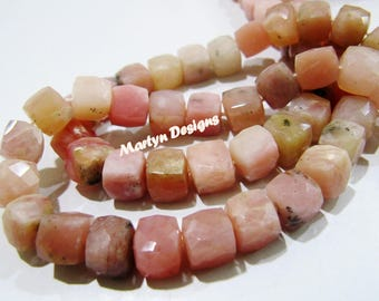 Natural Pink Opal 3D Box Beads , Very Good Quality Faceted Cube Shape Beads , Size 7-8mm , Strand 8 inch long , Semi Precious Gemstone Beads