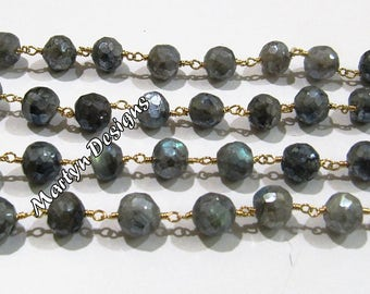 Natural Labradorite Mystic Coated Faceted Round 8mm Beaded Chain , AAA Quality Rosary Chain , Wire Wrapped Labradorite Chain- Sold Per Foot