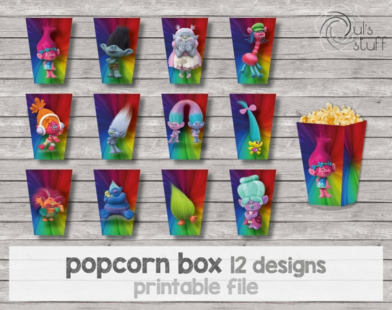 Colorful Trolls Popcorn Containers