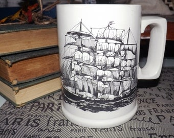 Quite vintage (c.1930s) Arthur Wood England ceramic tankard/stein featuring an image of the sailing ship Garthpool.  Bio of ship on reverse.